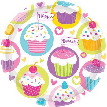 Platos de Papel Cumpleaños Cupcakes de 9 Pulgadas, 8 piezas