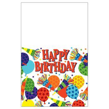 Mantel de Plástico Cumpleaños Globos y Cornetas