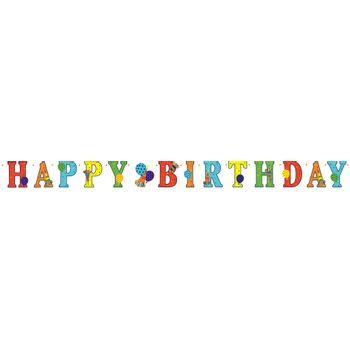 Banner Happy Birthday Globos y Cornetas