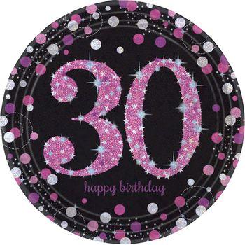Platos de Papel Celebración Negro y Rosa de 9 Pulgadas, 8 piezas