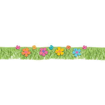 Banner de Franja con Flecos y Flores Hibisco