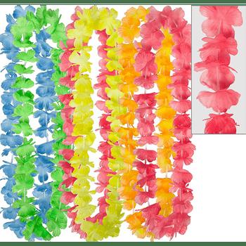 Collares Hawaianos de Flores Arcoiris, 6 piezas