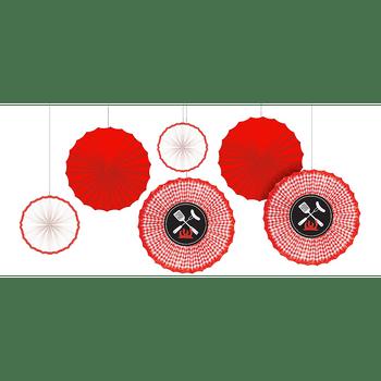 Decoraciones Colgantes de Papel Picnic Cuadros Rojos, 6 piezas