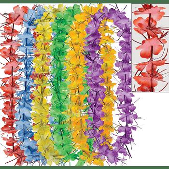 Collares Hawaianos de Flores Oropel, 6 piezas