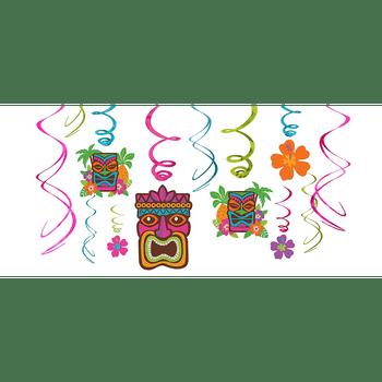 Decoraciones Colgantes en Espiral Tiki Tropical, 12 piezas