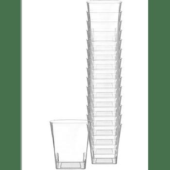 Vasos Cuadrados de Plástico Premium 266 ml, 14 piezas