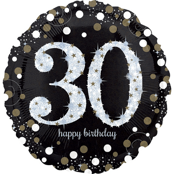 Globo Holográfico Cumpleaños Negro de 18 Pulgadas