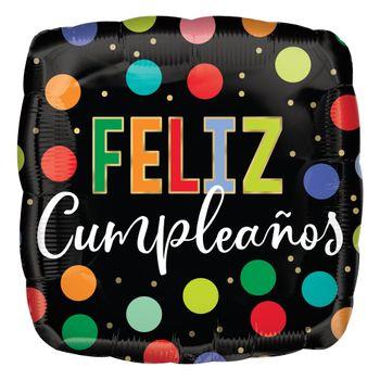 Globo Metálico Cuadrado Feliz Cumpleaños Puntos de Colores, 17 Pulgadas