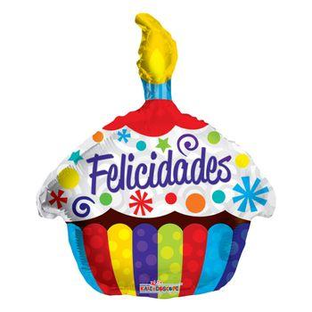 Globo Metálico en forma de Cupcake Felicidades, 22 Pulgadas