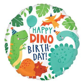 Globo Metálico Happy Dino Birthday, 17 Pulgadas