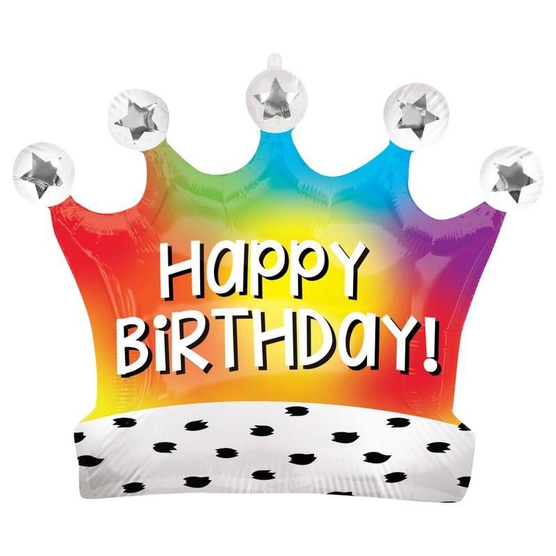 Globo-Metalico-en-forma-de-Corona-Happy-Birthday-Arcoiris-28-Pulgadas