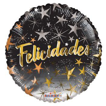 Globo Metálico Felicidades Estrellas Negro con Dorado, 18 Pulgadas