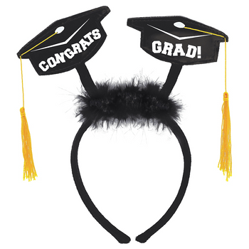 Diadema con Birretes y Plumas para Graduación