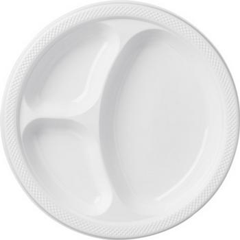 Platos de Plástico con Divisiones de 10.25 Pulgadas, 20 piezas