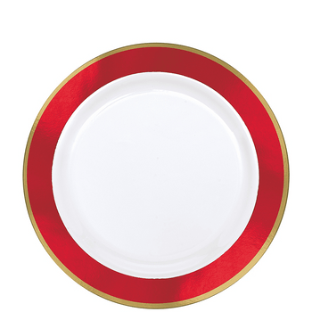 Platos de Plástico con Orilla de Color de 7.5 Pulgadas, 10 piezas