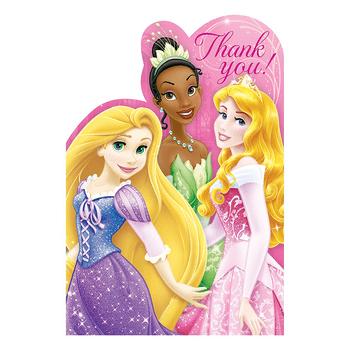 Tarjetas de Agradecimiento Princesas Disney, 8 piezas