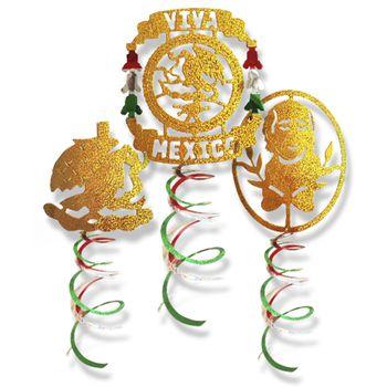 Decoraciones Colgantes en Espiral Fiestas Patrias, 3 piezas