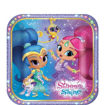 Platos de Papel Shimmer y Shine - 7 Pulgadas, 8 piezas